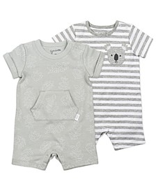 Baby Boy or Girl Rompers with Leaf Print and Stripes, 2 Pack