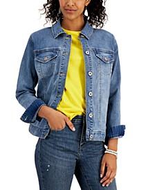 Petite Medium-Wash Denim Jacket, Created for Macy's