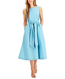 Gingham-Printed Tie-Sash Midi Dress
