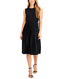 Pleated Tie-Waist A-Line Dress