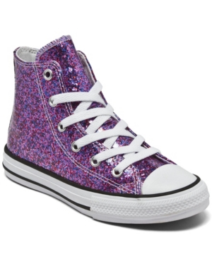 Converse LITTLE GIRLS COATED GLITTER CHUCK TAYLOR ALL STAR HIGH TOP CASUAL SNEAKERS FROM FINISH LINE