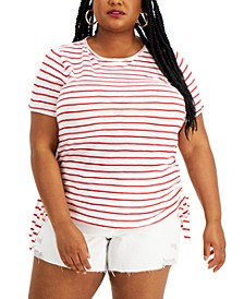 Plus Size Striped Cotton Double-Ruched Top, Created for Macy's