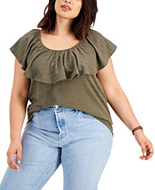 Plus Size Textured Ruffle-Neck Top, Created for Macy's