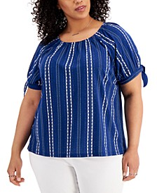 Plus Size Printed On/Off-Shoulder Top, Created for Macy's