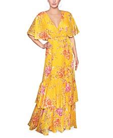 Cape-Back Floral-Print Maxi Dress