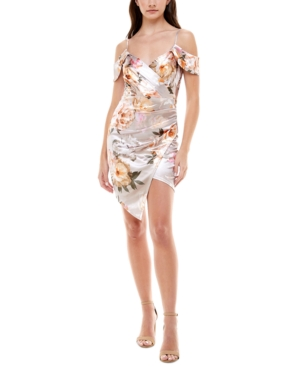 Juniors' Printed Asymmetrical Dress