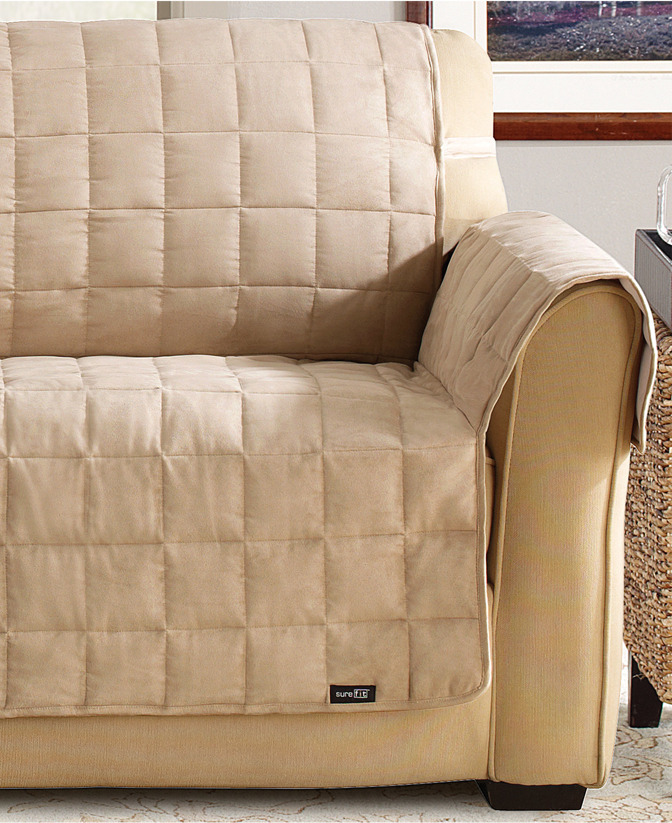 Sure Fit Suede Quilted Waterproof Sofa Furniture Cover