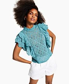 INC Ruffled Crochet Top, Created for Macy's