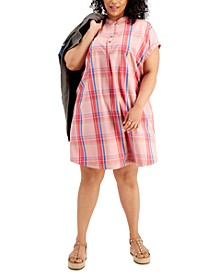 Plus Size Plaid Print Camp Dress, Created for Macy's
