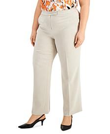 Plus Size Tab-Waist Stretch-Crepe Pants