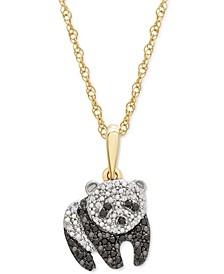 """Black & White Diamond Panda 18"""" Pendant Necklace (1/10 ct. t.w.) in 10k Gold, Created for Macy's"""