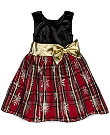Little Girls Sparkle Snowflake Print Skirt Holiday Plaid Dress
