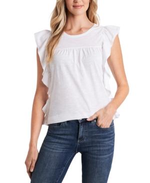Cece Ruffled T-shirt In Ultra White