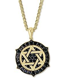 """EFFY® Men's Black Diamond Star of David Ship's Wheel 22"""" Pendant Necklace (5/8 ct. t.w.) in 14k Gold"""