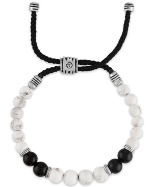 Onyx & Howlite Black Cord Bolo Bracelet in Sterling Silver