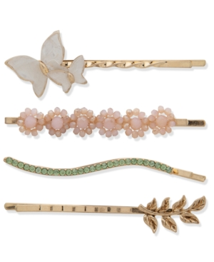 4-Pc. Gold-Tone Crystal & Stone Butterfly Bobby Pin Set