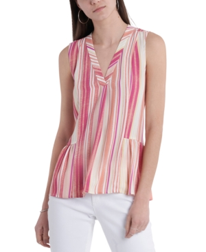 Vince Camuto Striped Ruffled Top In Bright Coral