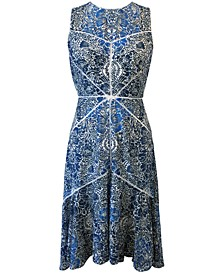 Printed V-Neck Stitched Lace Midi Dress