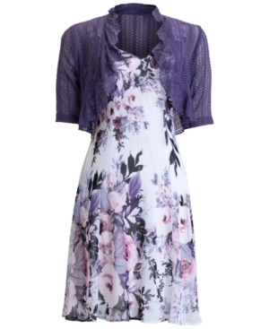 Connected Dresses FLORAL-PRINT 2-PC. CHIFFON JACKET AND DRESS