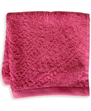 "Mainstream International Inc. Florence Cotton Velour 12"" X 12"" Wash Towel Bedding In Rose"