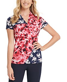 Ruched Mixed-Print Top