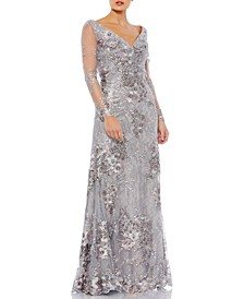 Embroidered Mesh Gown