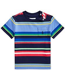 Baby Boys Striped Cotton Pocket T-Shirt
