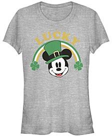 Juniors Disney Mickey Classic Lucky Mickey Cowl Neck T-shirt