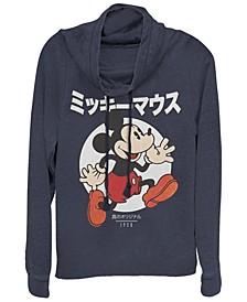 Juniors Disney Mickey Classic Kanji Comic Cowl Neck T-shirt