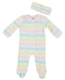 Baby Girls Stripe 2-Piece Coverall Set
