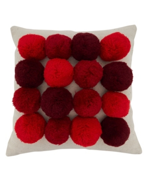 "Saro Lifestyle Pillows BIG POM POM DESIGN THROW PILLOW, 18"" X 18"""