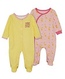 Baby Girls Giraffe Footie, 2 Piece Set