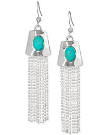 Silver-Tone Stone & Ball-Chain Fringe Statement Earrings, Created for Macy's
