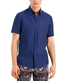 Men's Slim-Fit Yarn-Dyed Linen Shirt