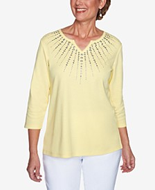 Petite Sunburst Embellished Top
