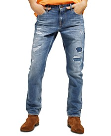 Men's Slim-Fit Tapered Ripped Jeans