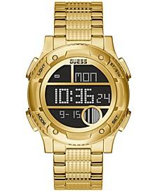 Men's Digital Gold-Tone Stainless Steel Bracelet Watch 45mm