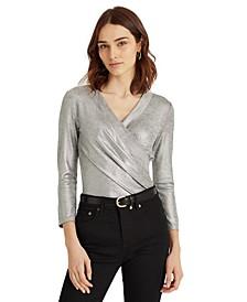Metallic Wrap-Style Jersey Top