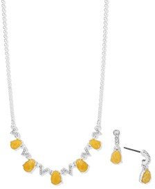 Pavé & Pear-Shaped Stone Statement Necklace & Drop Earrings Set