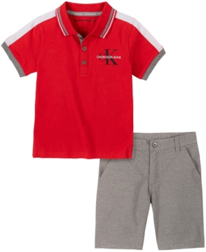 Calvin Klein LITTLE BOYS 2-PIECE SHORT SLEEVE TIPPED POLO SHIRT AND OXFORD STRIPED SHORTS SET