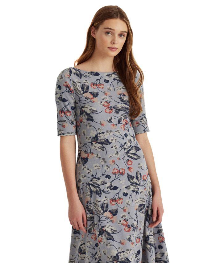 Lauren Ralph Lauren Floral Stretch Cotton Midi Dress & Reviews - Dresses - Women - Macy's