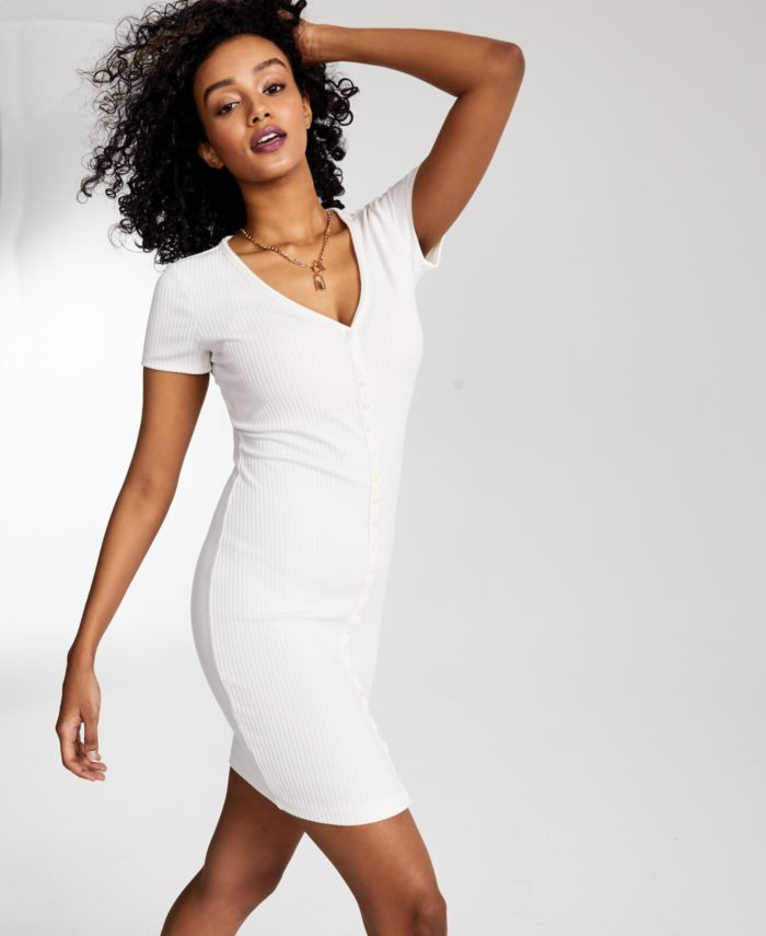 GUESS Eco Raylynn Ribbed Henley Dress & Reviews - Dresses - Women - Macy's