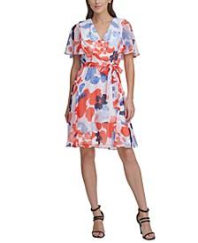 Flutter-Sleeve V-Neck Dress