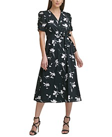 Ruched-Sleeve Floral Midi Dress