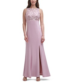 Embellished-Lace Gown