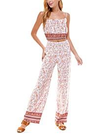 Juniors' Floral-Print Smocked-Waist Pants