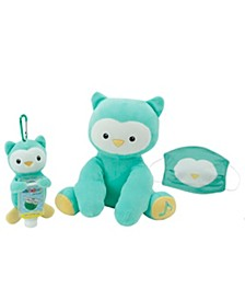 WelloBeez™ Musical Clean Crew™ Plush Owl and Plush Keychain with Empty, Refillable Sanitizer Bottle and Child's Face Mask