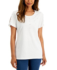 Embellished Split-Sleeve T-Shirt, Created for Macy's