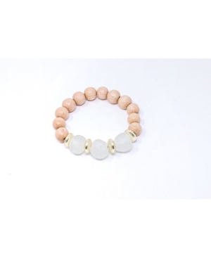 Stunning Light Wood Beaded Stretch Bracelet with Recycled Glass Beads
