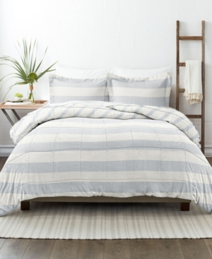 Ienjoy Home Home Collection Premium Down Alternative Reversible Comforter Set, Twin/twin Extra Long Bedding In Distressed Stripe